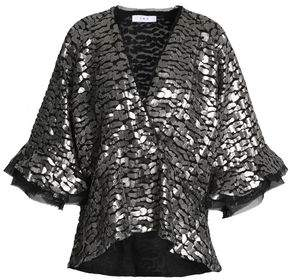 IRO Ruffle-trimmed Sequin-embellished Georgette Top