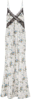 Brock Collection Donnie Lace-trimmed Floral-print Silk-taffeta Maxi Dress - White
