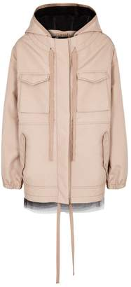 No.21 Blush Tulle-trimmed Shell Parka