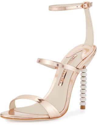 Sophia Webster Rosalind Crystal-Heel Leather Sandal, Rose Gold