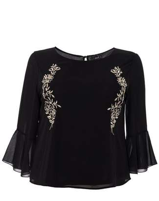 Quiz Curve Black And Gold Chiffon Embellished Flute Sleeve Top