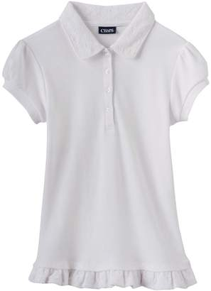 Chaps Girls 4-16 School Uniform Lace Ruffle Polo