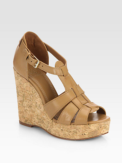 Tory Burch Wendelle Leather Cork Wedge Sandals