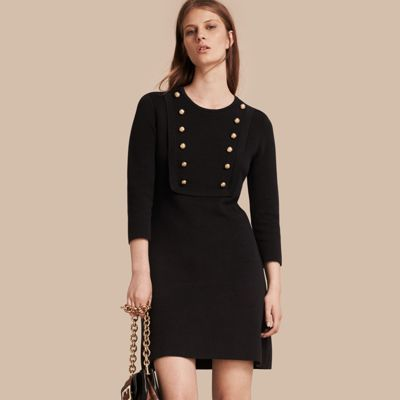 Burberry  Burberry Stretch Silk-cotton Knitted Military Dress