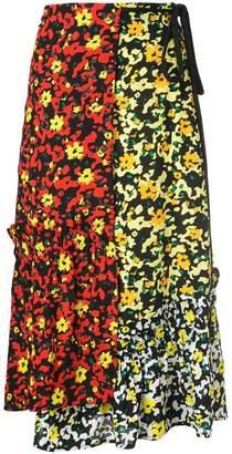 Proenza Schouler Multi Floral Asymmetrical Skirt