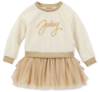 Juicy Couture Velour Sweatshirt Top & Tulle Bottom Dress (Little Girls)