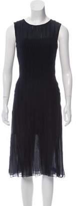 Oscar de la Renta Sleeveless Fringe-Trimmed Dress Navy Sleeveless Fringe-Trimmed Dress