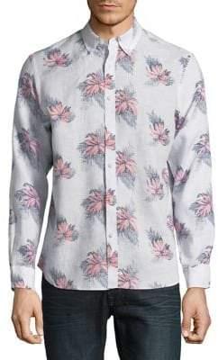 Black & Brown Black Brown Floral Linen Button-Down Shirt