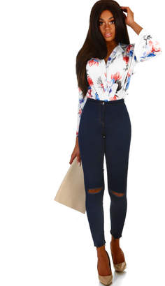 Pink Boutique On Fire Indigo Rip Knee Skinny Jeggings
