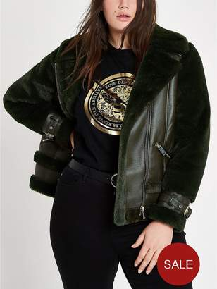 River Island RI Plus Faux Fur Aviator Jacket - Green
