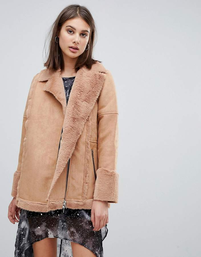 spell faux fur aviator jacket
