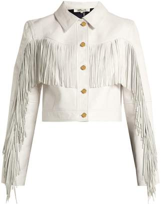 Diane von Furstenberg Cropped fringed leather biker jacket