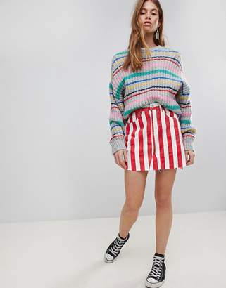 Glamorous Denim Mini Skirt In Contrast Stripe