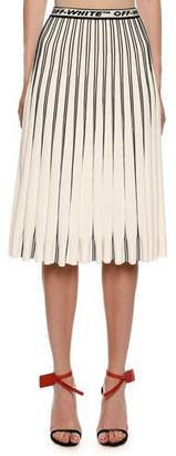 Off-White Colorblocked Plisse Midi Skirt, White