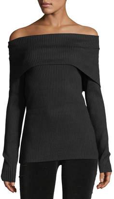 philosophy Ribbed Off-the-Shoulder Sweater, Black