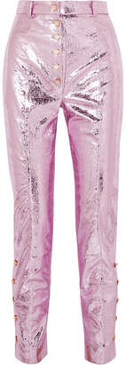 Hillier Bartley - Glam Metallic Crinkled Coated-faux Leather Straight-leg Pants - Pink