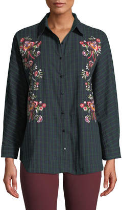 Few Moda Floral-Embroidered Check Button-Front Blouse