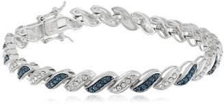 Swarovski Sterling Silver Montana Blue and White Elements Crystal Alternating Twisted Bracelet (4mm)