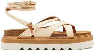 See by Chloe Wraparound leather flatform sandals