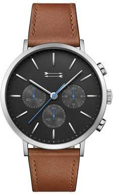 Uri Minkoff Griffith Silver Tone Leather Watch, 43MM