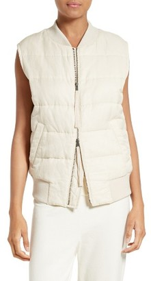 Women's Vince Quilted Bomber Vest $395 thestylecure.com