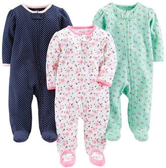 Carter's Simple Joys by Baby Girls' 3-Pack Sleep and Play