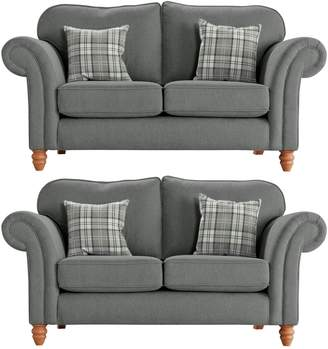 Argos Home Windsor Pair of Fabric 2 Seater Sofas -Light Grey