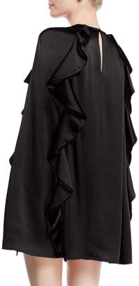 Valentino Long-Sleeve Crepe Couture Dress with Ruffle Detail
