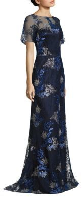 David Meister Embroidered Metallic Evening Gown $750 thestylecure.com