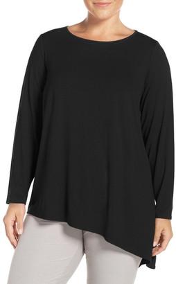 Eileen Fisher Asymmetrical Lightweight Jersey Crewneck Top (Plus Size) $178 thestylecure.com