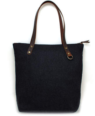 "General Knot & Co Felted Charcoal Tote with Tartan Lining ""Heather"""