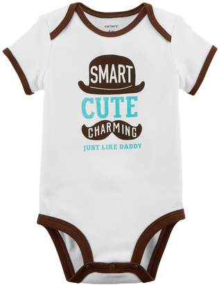"Carter's Baby Boy Smart Cute Charming"" Graphic Bodysuit"