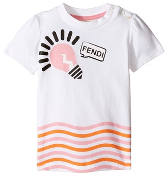 Fendi Kids - Short Sleeve Logo Light Bulb Graphic T-Shirt Girl's T Shirt $182.60 thestylecure.com