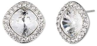 Givenchy Pave Cushion Cut Crystal Button Stud Earrings