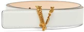 Versace Virtus Leather Belt - Womens - White