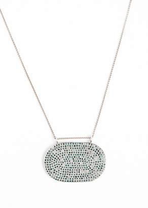 Lera Jewels Blue Diamonds & White Rhodium Oval On 14k White Gold Chain Necklace