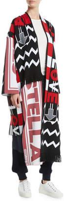 Stella McCartney Logo-Knit Belted Long Cardigan Coat w/ Fringe