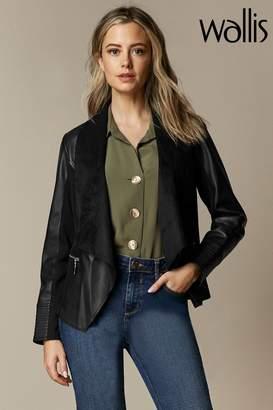 Wallis Womens Black Petite Zip Detail Waterfall Jacket - Black