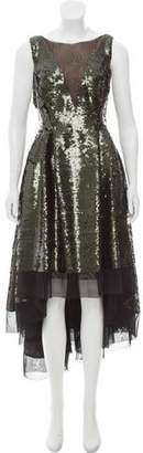 Dennis Basso Sequined High-Low Dress