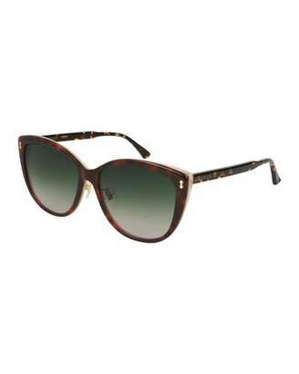 Gucci Contrast Acetate Cat-Eye Sunglasses, Brown Pattern