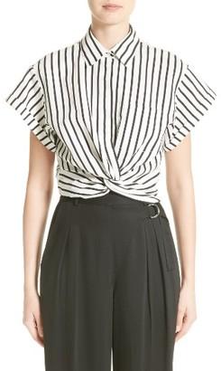Women's T By Alexander Wang Twist Hem Stripe Shirt $250 thestylecure.com