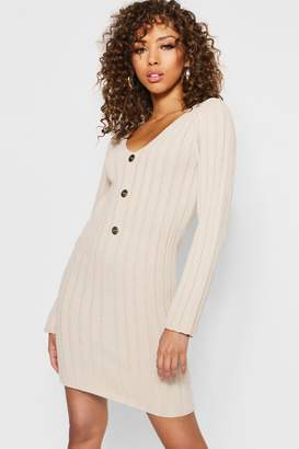 boohoo Long Sleeve Rib Knit Gold Button Front Dress