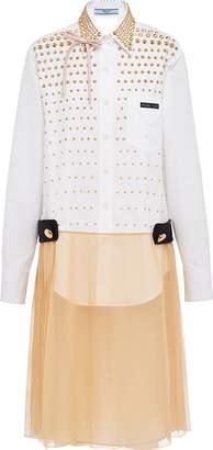 Prada compact poplin and chiffon dress