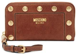 Moschino Studded Leather Zip-Around Wallet