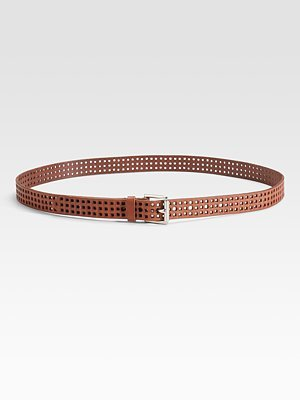 Skinny Perforated Leather Waist Belt