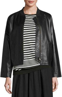 Vince Drop-Shoulder Leather Bomber Jacket, Black $1,050 thestylecure.com