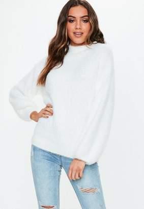 Missguided White Fluffy Knit Boyfriend Sweater