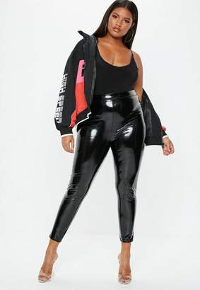 Missguided Plus Size Black Vinyl Leggings