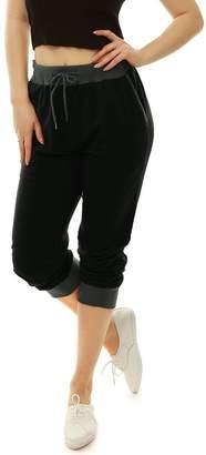 Allegra K Women's Drawstring Elastic Band Contrast Color Jogger Pants XL