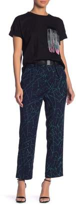 Grey Lab Belted Patterned Straight Leg Trousers